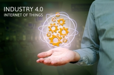Industry 4.0, industrial internet of things concept with man sho